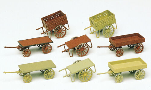 8 Stueck Preiser 17103 Handwagen Bausatz H0