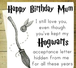 Happy Birthday Mum Harry Potter Funny Hogwarts Card Black And White