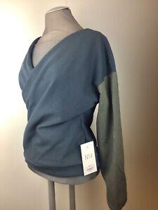 NEU-NIX-Design-V-Sweatshirt-zum-Wenden-Sweatjersey-grau-Streifen-oliv