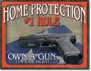 Home-Protection-1-Rule-Own-a-Hand-Gun-Warning-Bear-Arms-Wall-Decor-Metal-Sign