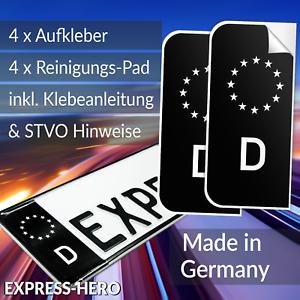 4x-Kennzeichen-Aufkleber-Schwarz-Nummernschild-EU-Feld-Blau-D-Sticker-Tuning-car