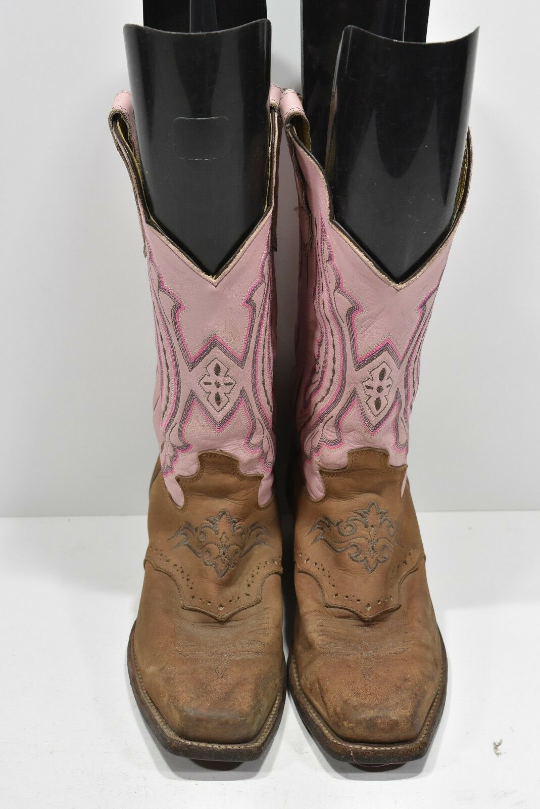 JUSTIN Damenschuhe 9 B COFFEE WESTERNER LEATHER SQUARE TOE COWBOY BOOTS ROPERS