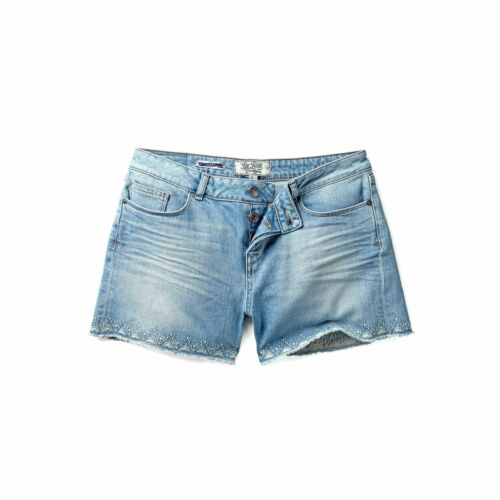 Fatface Womens Embroidered Blue Denim Shorts