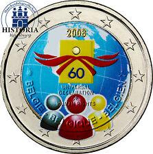 Belgien 2 Euro Gedenkmünze 2008 bfr. 60 Jahre Menschenrechte in Farbe