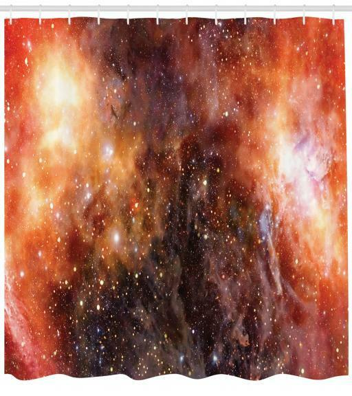 Universe Cosmos Pattern Shower Curtain Fabric Decor Set with Hooks 4 Größes