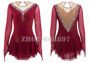c8b795c6ff70a Details about competition ice figure skating dress child and women ice  skating dress wine red