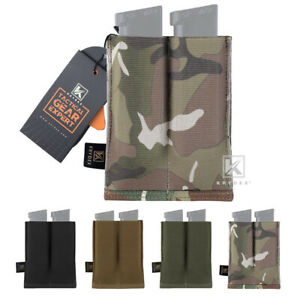 KRYDEX Double 9mm Pistol Mag Pouch Tactical Magazine Carrier Quick Draw MOLLE