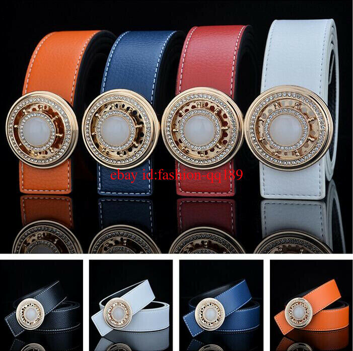 2011 Mens Real Leather Belt Jade Needle Buckle Rotate Leather Belt Jeans