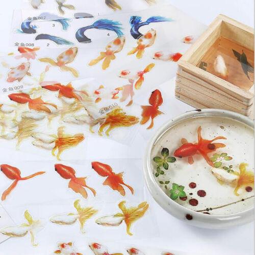 10Pcs 3D Goldfish Clear film Résine À faire soi-même Stickers à l/'eau comme Peinture Bijoux Faire