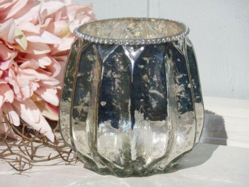 Windlicht Bauernsilber Deko Glas Straßsteine Rillen Shabby Antik Landhaus H.10cm