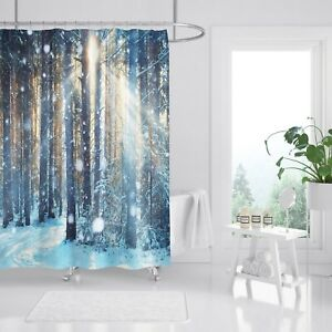 3d Sun Snow Woods 7 Shower Curtain Waterproof Fiber Bathroom Home Windows Toilet Shower Curtains Home & Garden