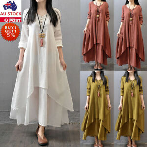 ac35e97b27f66 Plus Size Women Cotton Linen Long Sleeve Maxi Dress Kaftan Holiday ...