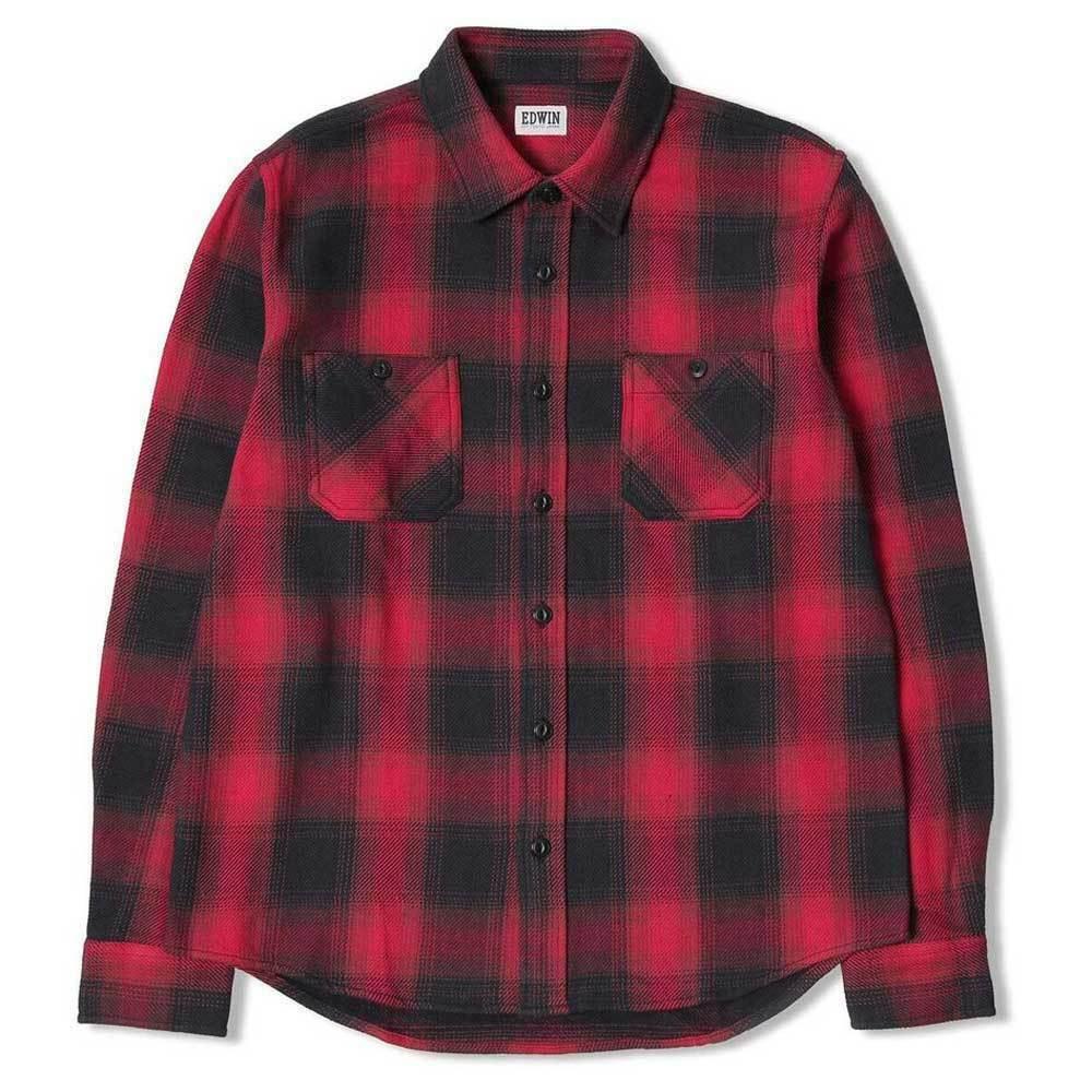 Edwin Lavoro Camicia Di Flanella-Rosso Marronee