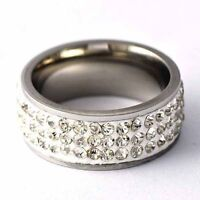 Stainless steel engagement crystal wedding CZ Love Band ring size 6 7 8