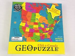 Geo Map Of Usa.Geotoys Usa Canada Geo Puzzle 69 Pieces Geography Map 17in X 17in