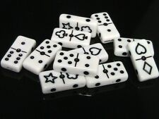 20 x 20mm White Domino Style Beads Spacer Playing Cards Double Hole Bead S31