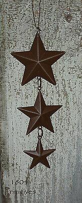 "Primitive Rusty Tin Look 5"" Hanging BARN STARS"