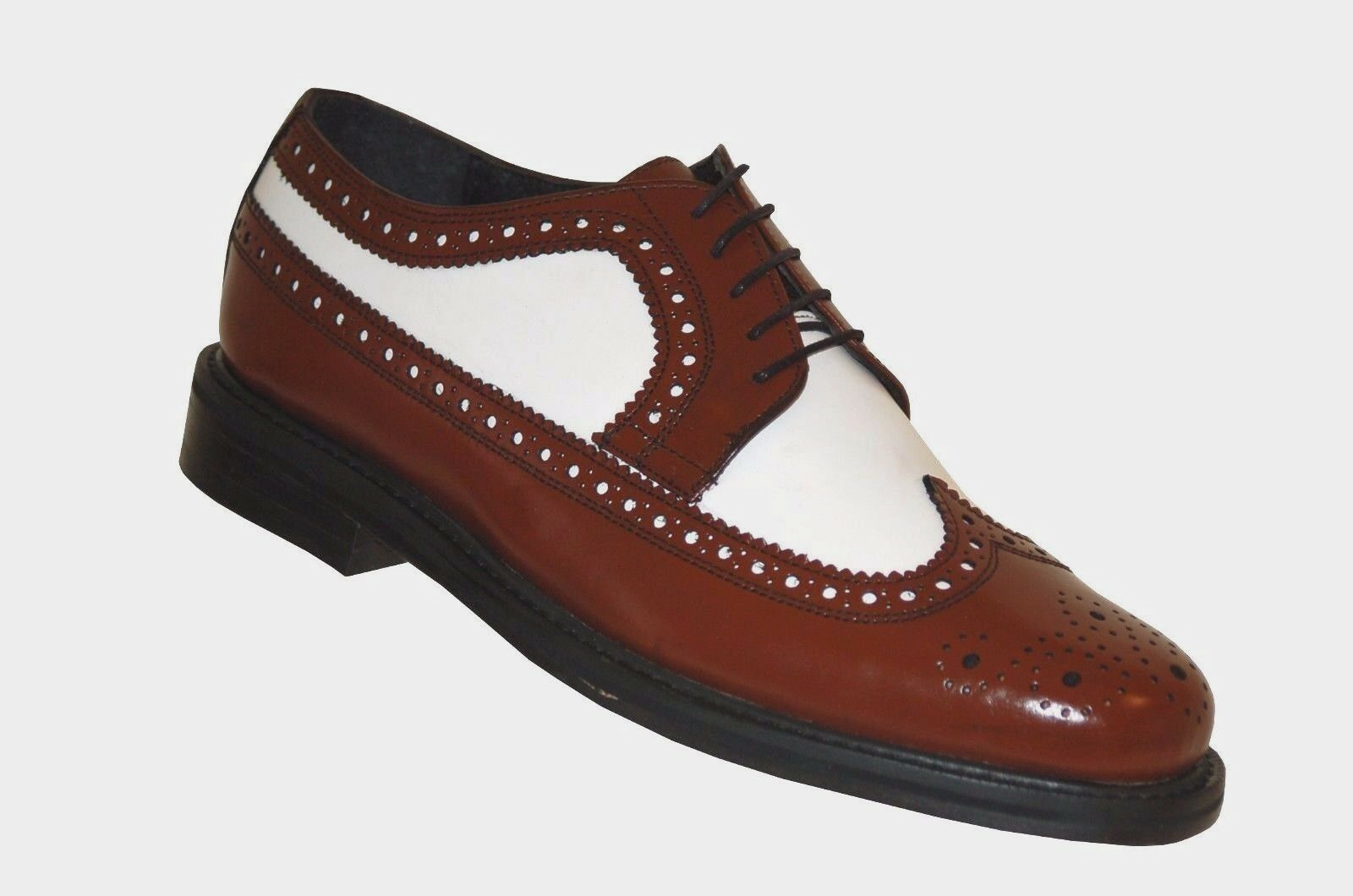 Mens Wingtip Spectator Leather schuhe, Two Tone Oxford Brogues with Thick Soles
