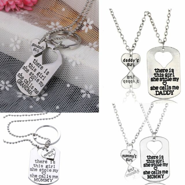 2Pcs Silver Letter Heart Tag Necklace Daddy Girl Daughter Dad Father Chain Gift