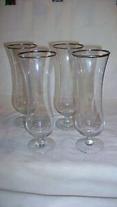 Set-of-Four-Silver-Rimmed-Parfait-Cordial-Footed-Clear-Glasses