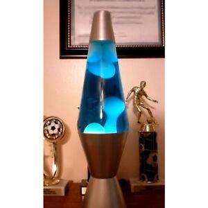 Details About Retro Lava Lamp Liquid Motion Vintage Night Light Lite Blue White Silver Base