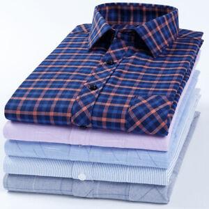 New Mens Silk Cotton Shirts Casual Slim Formal Dress Casual No Ironing FC6320