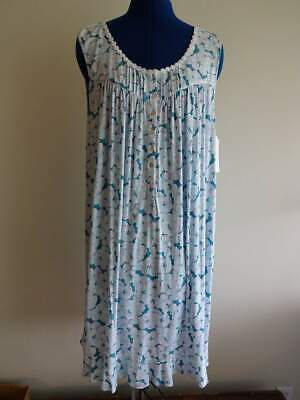 EILEEN WEST MICROMODAL AQUA BLUE White FLORAL WOMANS Lace WALTZ NIGHT GOWN