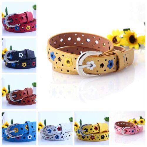 Kids Candy Color Flower Belt Buckle PU Leather Girls Children Toddler Waistband