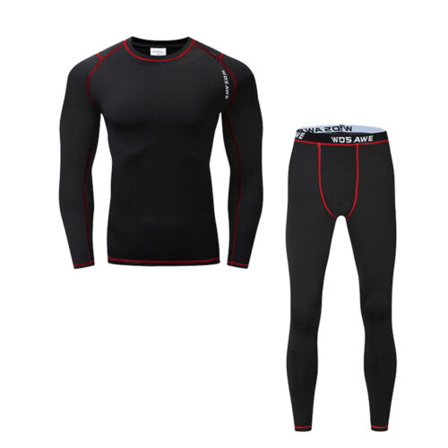 Mens Winter Thermal Base layer Underwear Compression Fleece Shirts Pants A Set