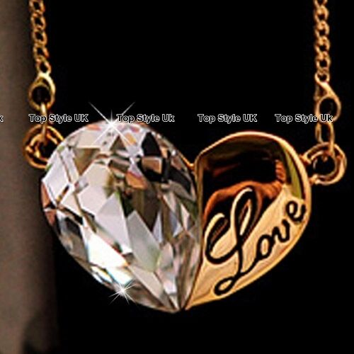 Gold Necklace Engraved Love Pendant Crystal Diamond Gifts for Her Daughter P1