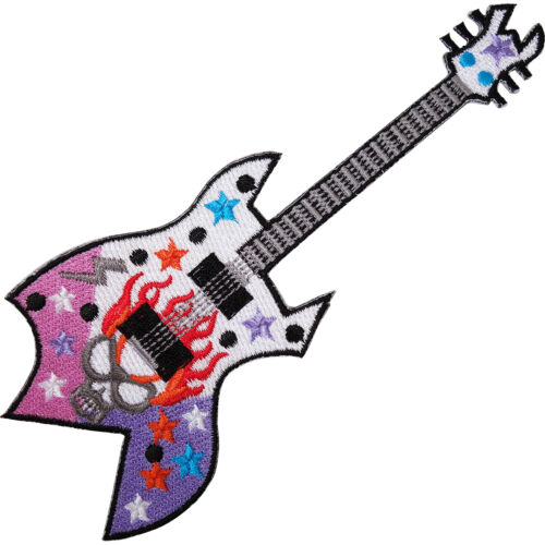 White Purple Electric Guitar Embroidered Iron Sew On Patch Jeans Cap Bag Badge