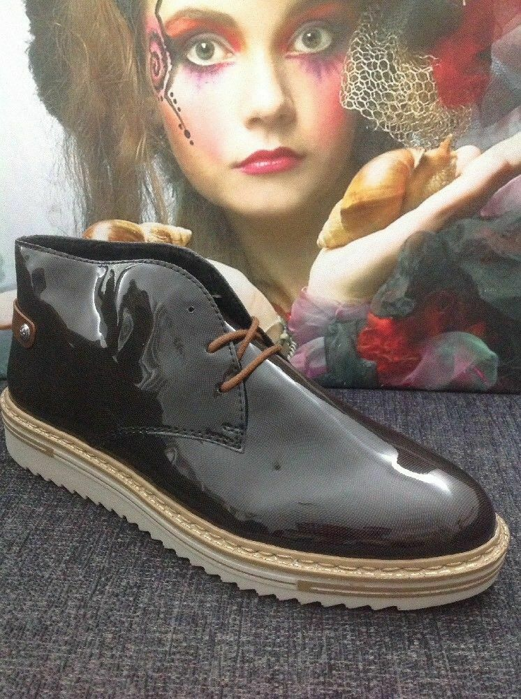 NEW RIEKER WOMEN'S LACE-UP ANKLE BOOTS GREY PATENT FAUX LEATHER SIZE   41