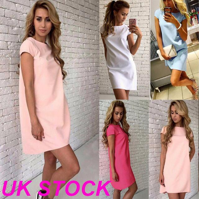 UK Summer Womens Short Sleeve Casual Beach Top Sundress Party Evening Mini Dress