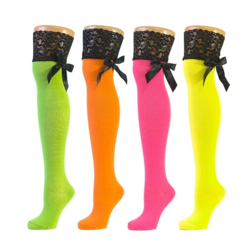 Neon Coloured Over The Knee Socks With Black Lacy Bow Tie Ribbon