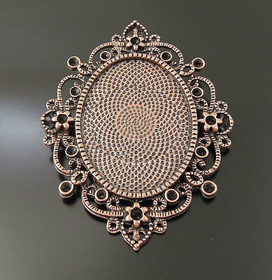 9pcs Vintage Copper Lace Cameo Setting Cabochon Tray Inner Size 40*30mm 33719