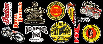 Multi-purpose Craft Supplies Vintage Motor Bike Vinyl Sticker Pack
