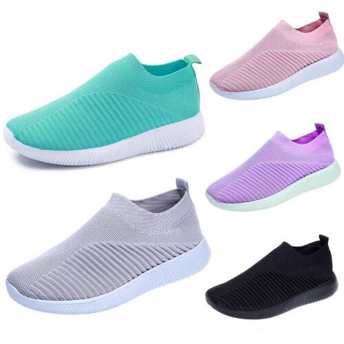 Women Breathable Trainers Sock Sneakers Mesh Ladies Girl Slip On Sport Gym Shoes