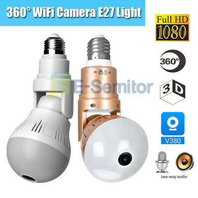 360° Panoramic Hidden Wifi Camera Light Bulb HD 1080P Security IP Fisheye Camera