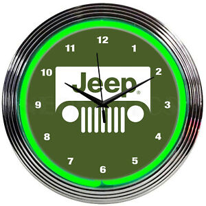 Jeep neon clock sign Army dealership Rubicon Wrangler wall lamp 2021 Dads garage