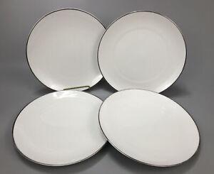 """Set 4 Crown Jewel Silver Moon Platinum Dinner Plates Bavaria Germany 10.25"""" AA"""