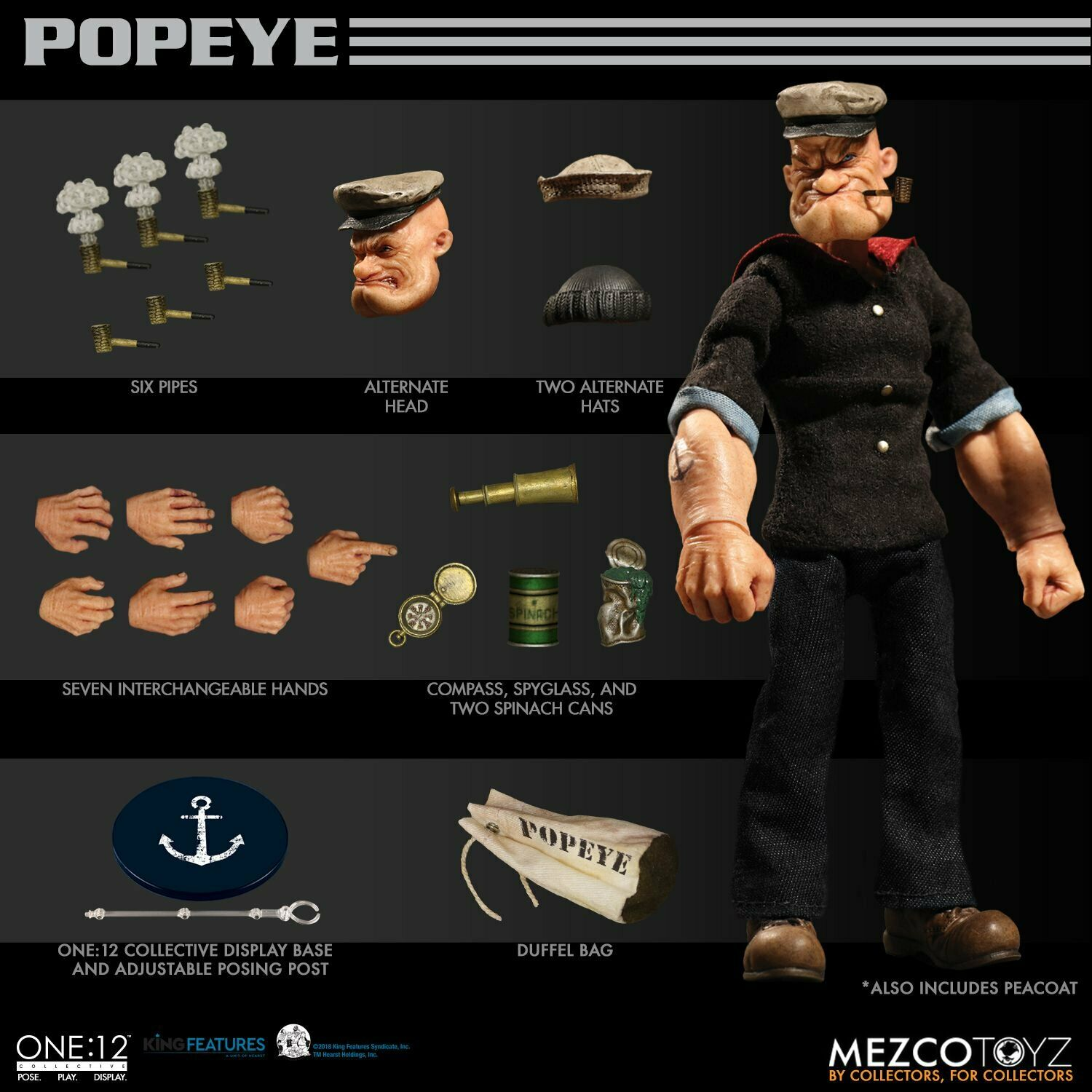 Mezco Toyz 76470 1 12 The One collective Pupai POPEYE figure Toys 6