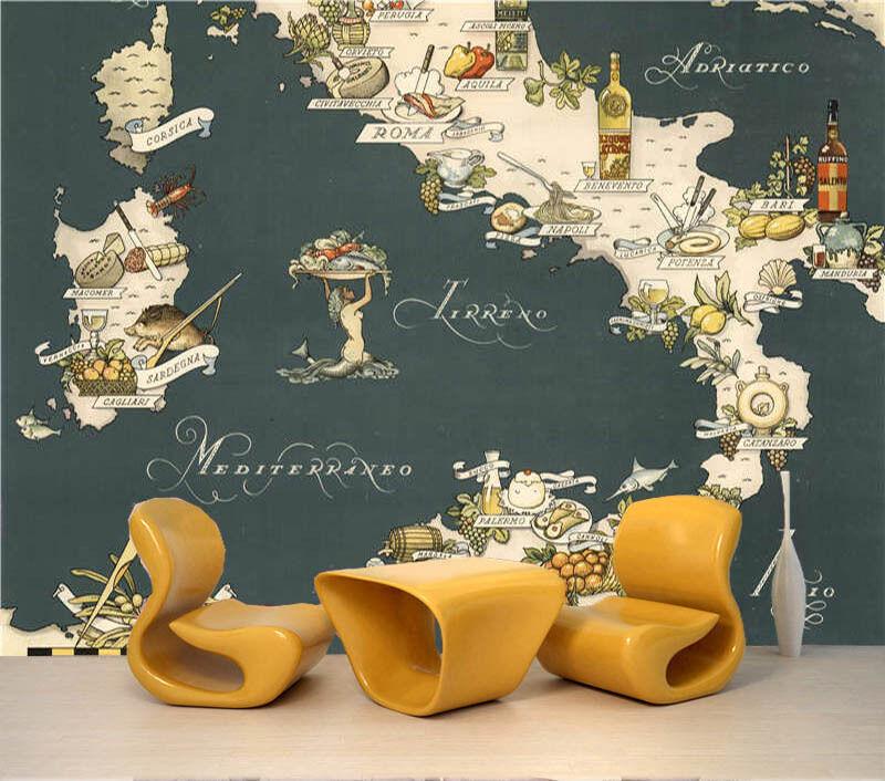 Ltalian Food Map 3D Full Wall Mural Photo Wallpaper Printing Home Kids Decor