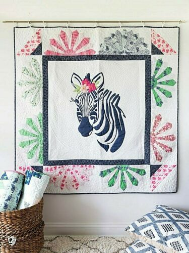 New Applique and Pieced Quilt Pattern ZINNIA ZEBRA 2 Projects