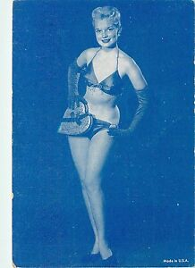 253a92631147 Details about Arcade Card c1940s? Blonde Pin-Up Girl in Bra & Panties,  Gloves, Blue Ink