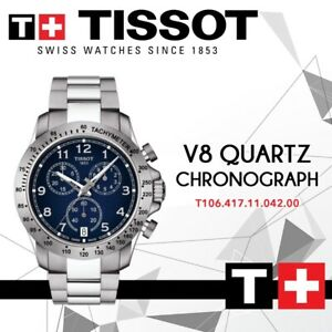 New-Tissot-V8-T106-417-11-042-00-Quartz-Blue-Dial-Silver-St-Steel-Men-039-s-Watch