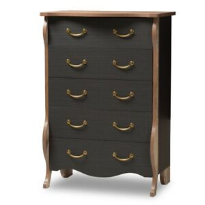 5-Drawer-Black-and-Oak-Finished-Wood-Dresser-Chest-Country-Cottage-Farmhouse