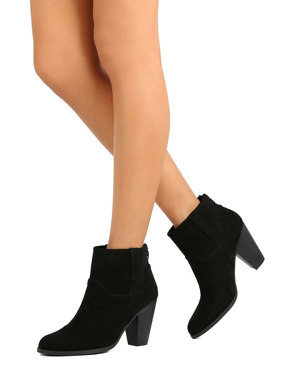 New Women Qupid Nixon-35 Faux Suede Perforated Chunky Heel Ankle Bootie