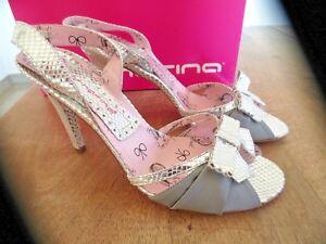 FORNARINA Sandalo argento raso+pelle Tacco 9cm nuove valore 139 139 139   f92c3a