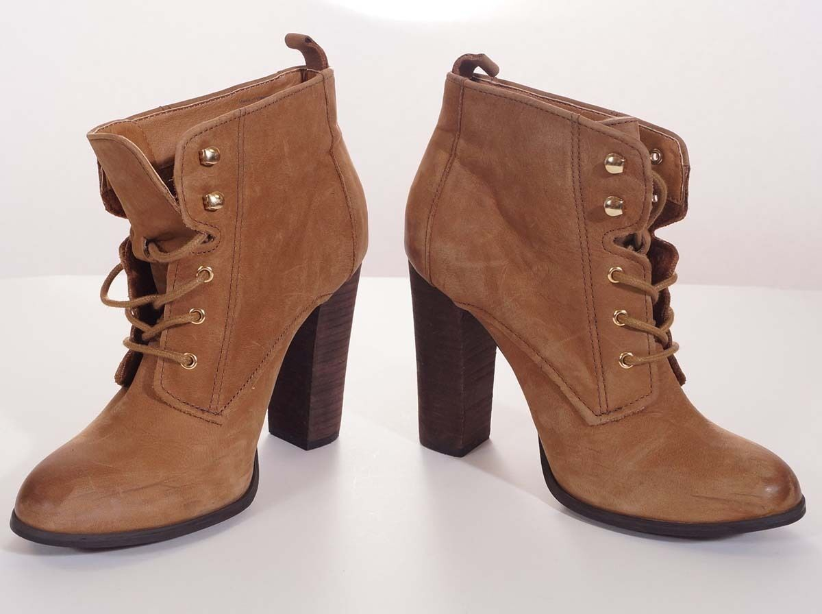 Aldo Womens Light Brown Leather Heel Ankle Bootie Boots shoes 9