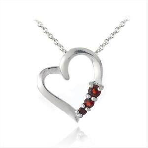 925 Silver Lab Created Ruby Three Stone Floating Heart Necklace, 18""